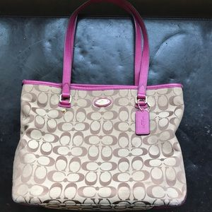 Coach Signature Brown and Hot Pink Tote